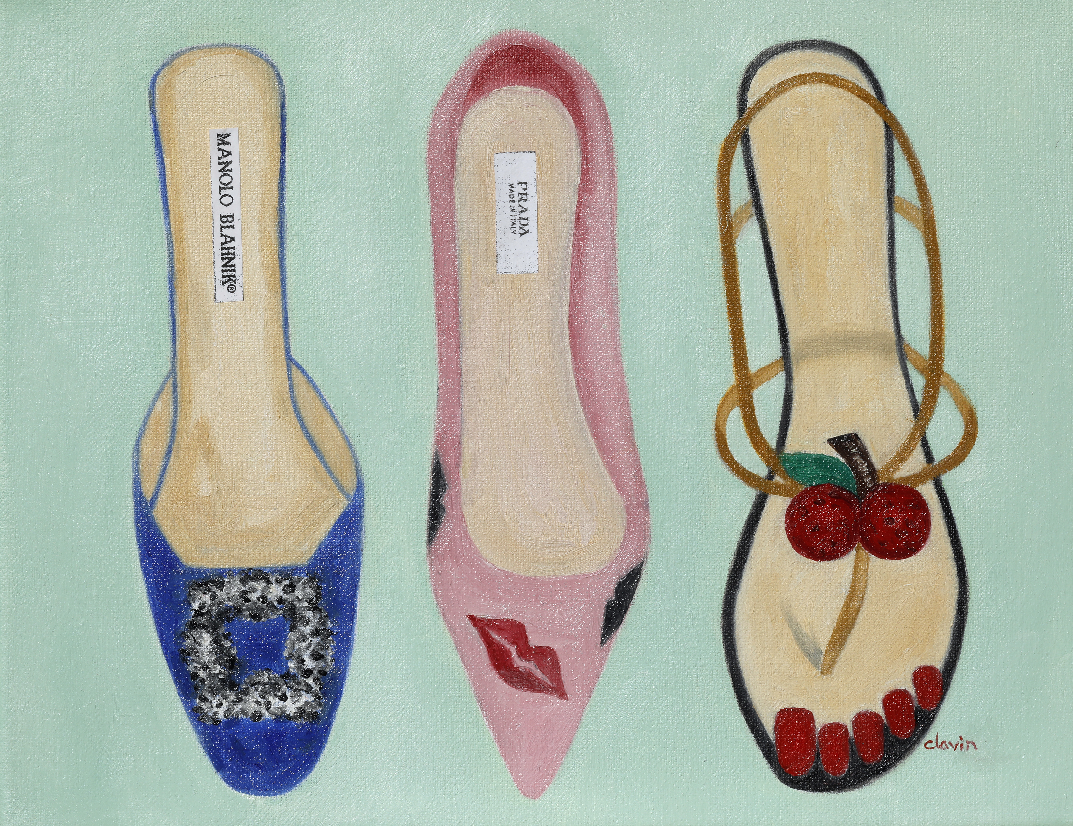 3 shoes, green background   11x14  $300.00