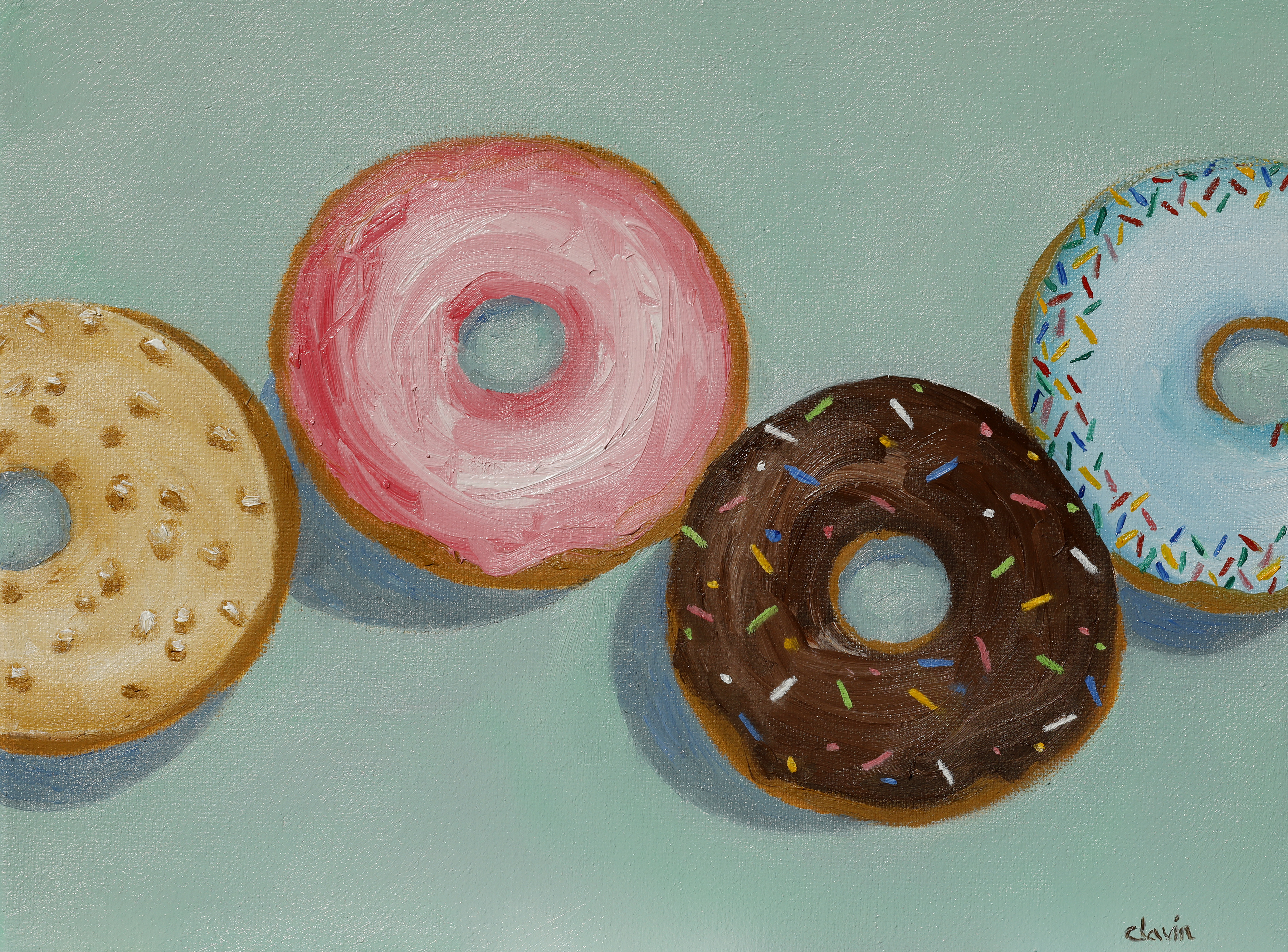 Donuts green background  9x12   $200.00
